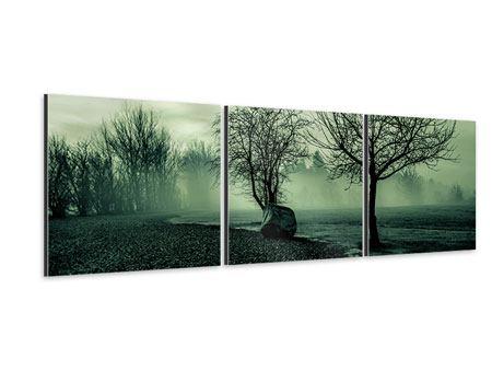 Panorama Aluminiumbild 3-teilig Der Auwald im Nebel