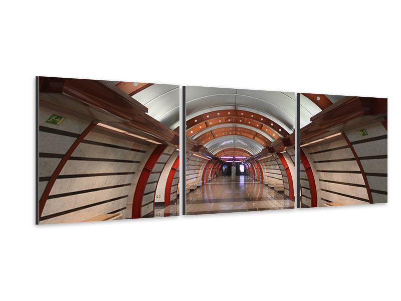 Panorama Aluminiumbild 3-teilig U-Bahn Station