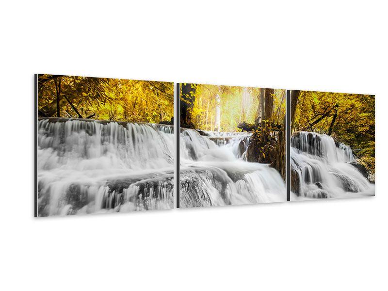 Panorama Aluminiumbild 3-teilig Wasser in Aktion