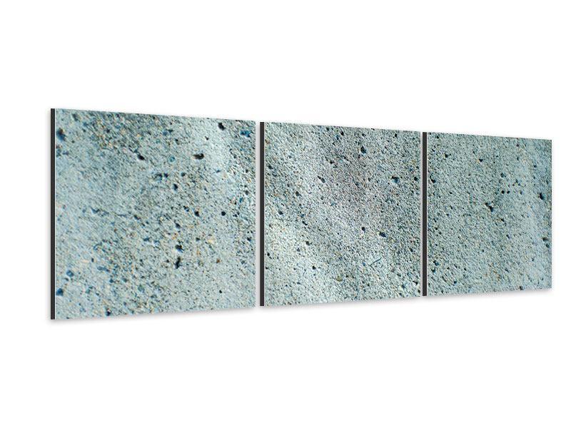 Panorama Aluminiumbild 3-teilig Beton in Grau