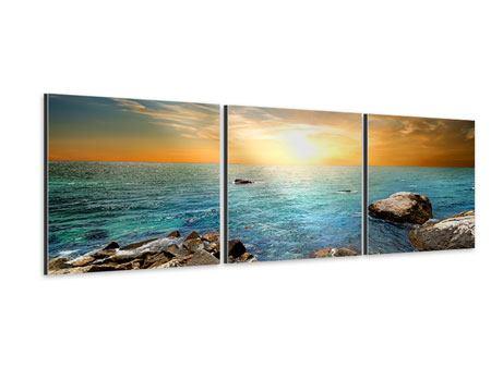 Panorama Aluminiumbild 3-teilig Meerwasser