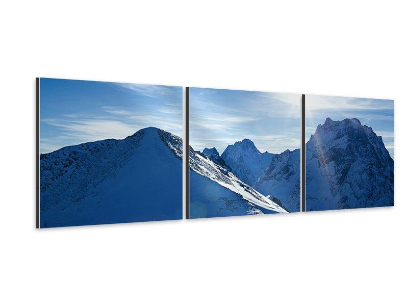 Panorama Aluminiumbild 3-teilig Der Berg im Schnee