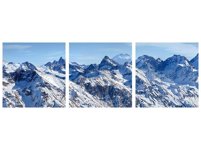 Panorama Aluminiumbild 3-teilig Gipfelspitzen