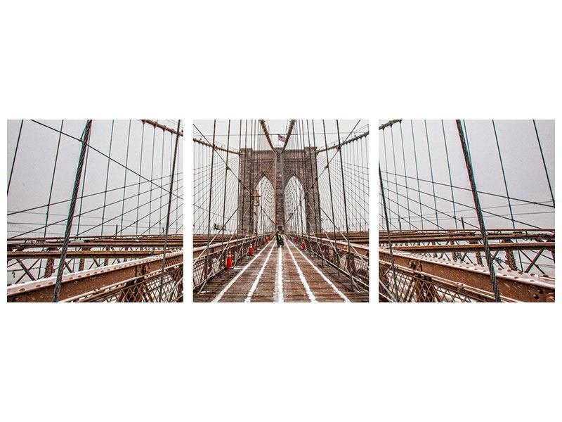 Panorama Aluminiumbild 3-teilig Auf der Brooklyn Bridge