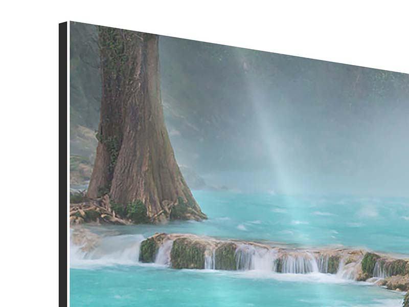 Panorama Aluminiumbild 3-teilig Haus am Wasserfall