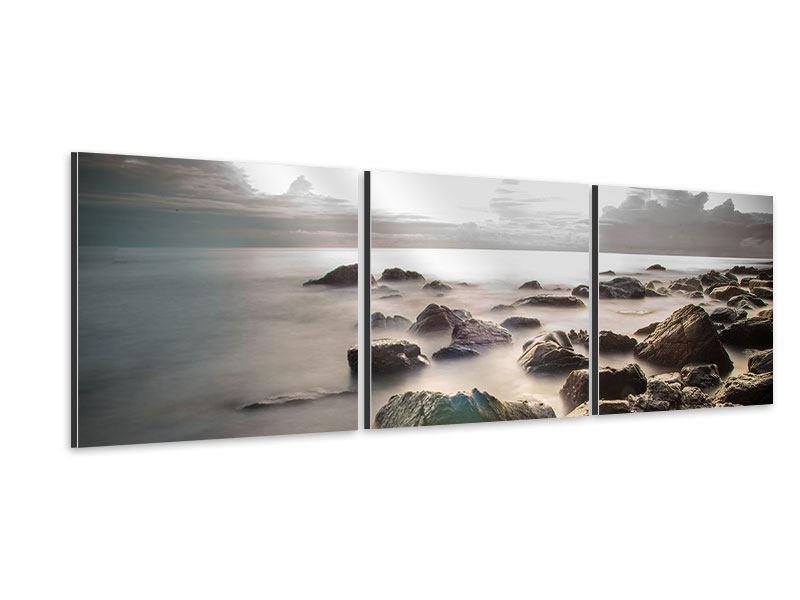 Panorama Aluminiumbild 3-teilig Steine am Strand