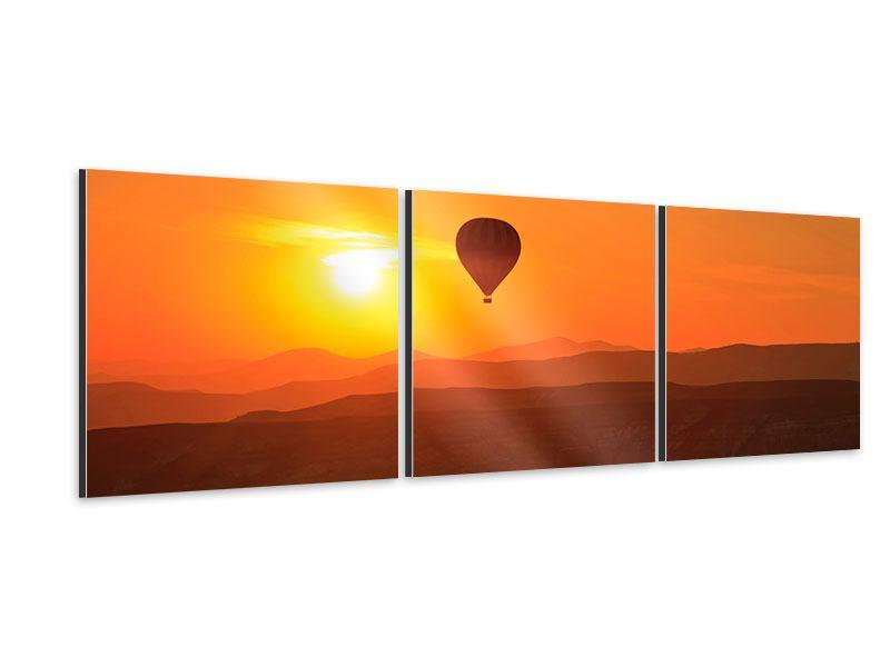 Panorama Aluminiumbild 3-teilig Heissluftballon bei Sonnenuntergang