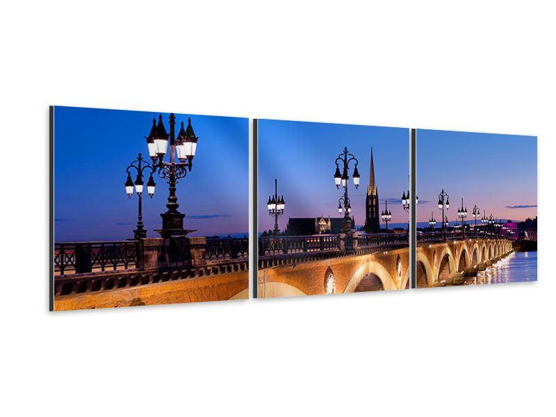 Panorama Aluminiumbild 3-teilig Pont De Pierre bei Sonnenuntergang