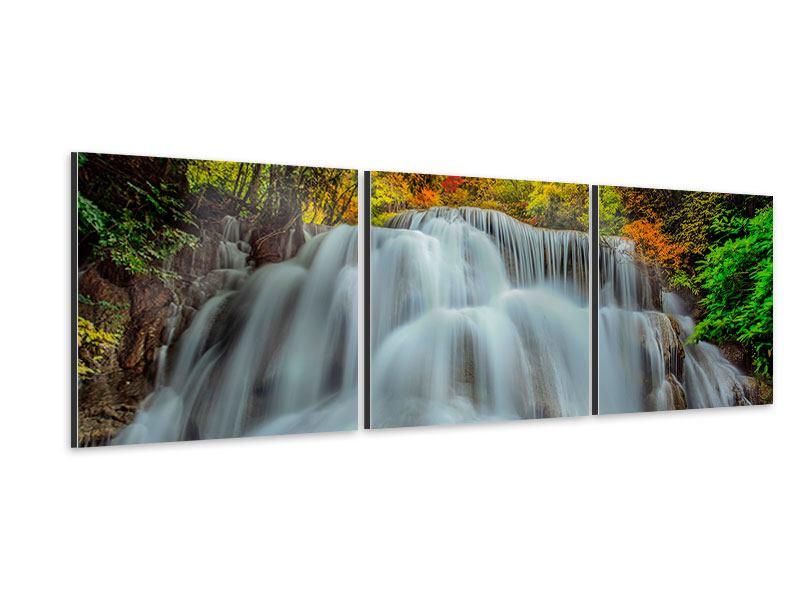 Panorama Aluminiumbild 3-teilig Fallendes Gewässer