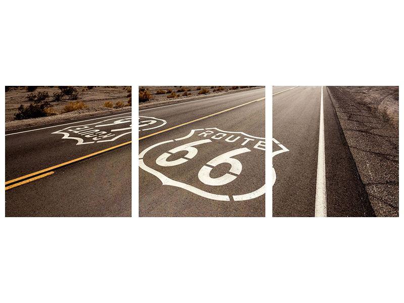 Panorama Aluminiumbild 3-teilig Route 66