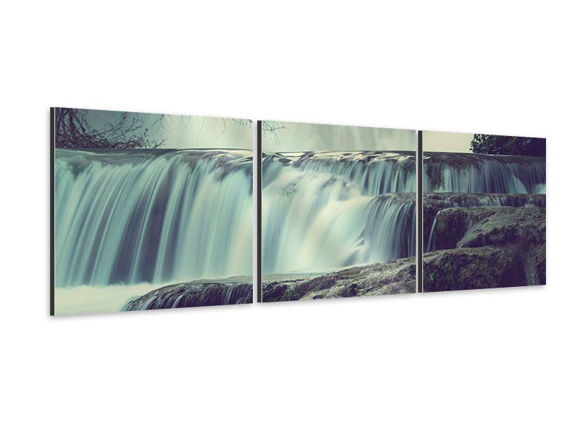 Panorama Aluminiumbild 3-teilig Wasserfall Mexiko