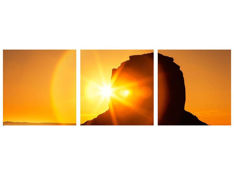 Panorama Aluminiumbild 3-teilig Sonnenuntergang Monument Valley