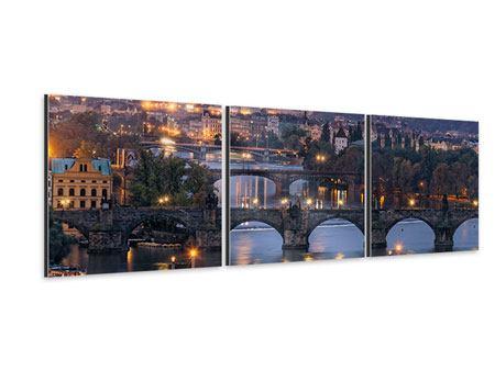 Panorama Aluminiumbild 3-teilig Brücken in Prag