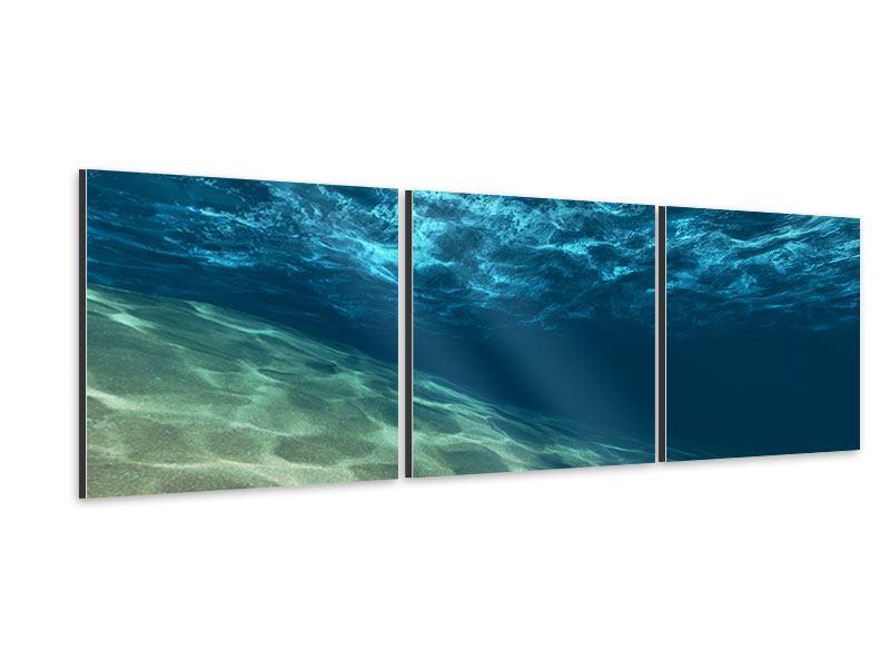 Panorama Aluminiumbild 3-teilig Unter dem Wasser