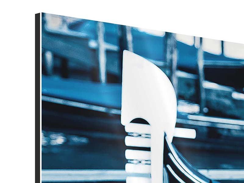Panorama Aluminiumbild 3-teilig Gondeln in Venedig
