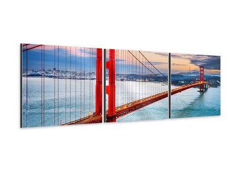 Panorama Aluminiumbild 3-teilig Der Golden Gate Bridge bei Sonnenuntergang