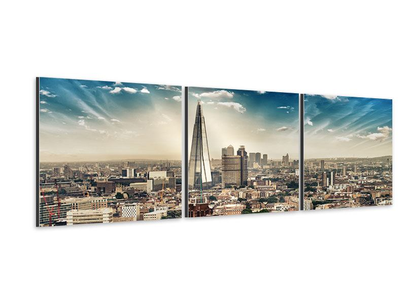 Panorama Aluminiumbild 3-teilig Skyline Über den Dächern von London