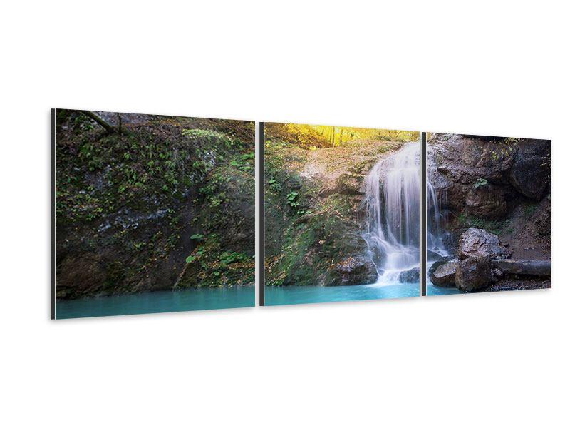 Panorama Aluminiumbild 3-teilig Fliessender Wasserfall