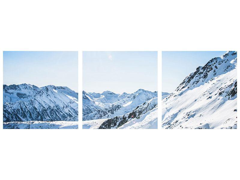 Panorama Aluminiumbild 3-teilig Bergpanorama im Schnee