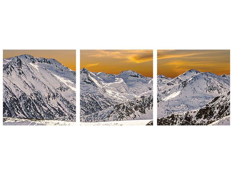 Panorama Aluminiumbild 3-teilig Sonnenuntergang in den Bergen