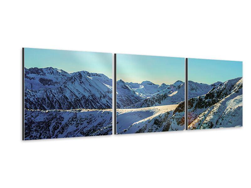 Panorama Aluminiumbild 3-teilig Sonnige Berggipfel im Schnee