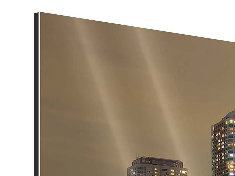 Panorama Aluminiumbild 3-teilig Skyline Tokio in der Nacht