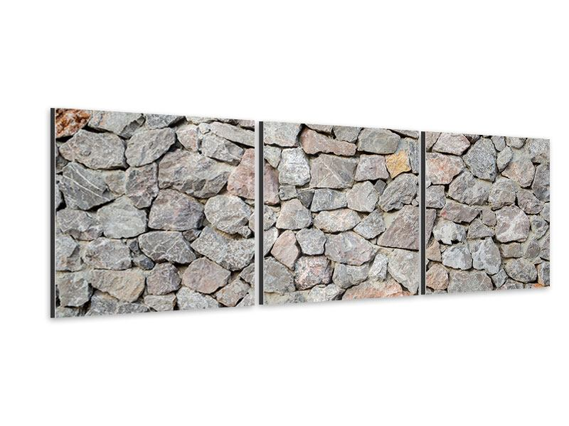 Panorama Aluminiumbild 3-teilig Grunge-Stil Mauer