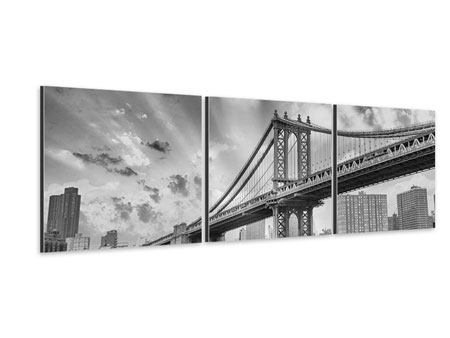 Panorama Aluminiumbild 3-teilig Manhattan Bridge