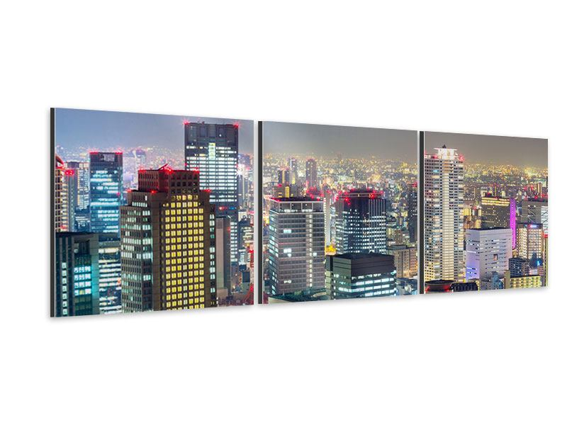 Panorama Aluminiumbild 3-teilig Skyline Osaka im Lichtermeer