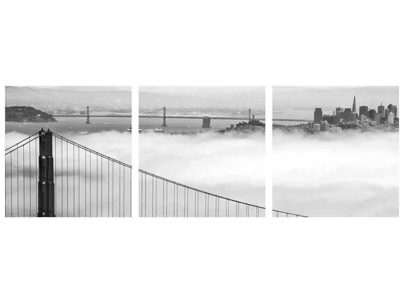 Panorama Aluminiumbild 3-teilig Golden Gate Brücke