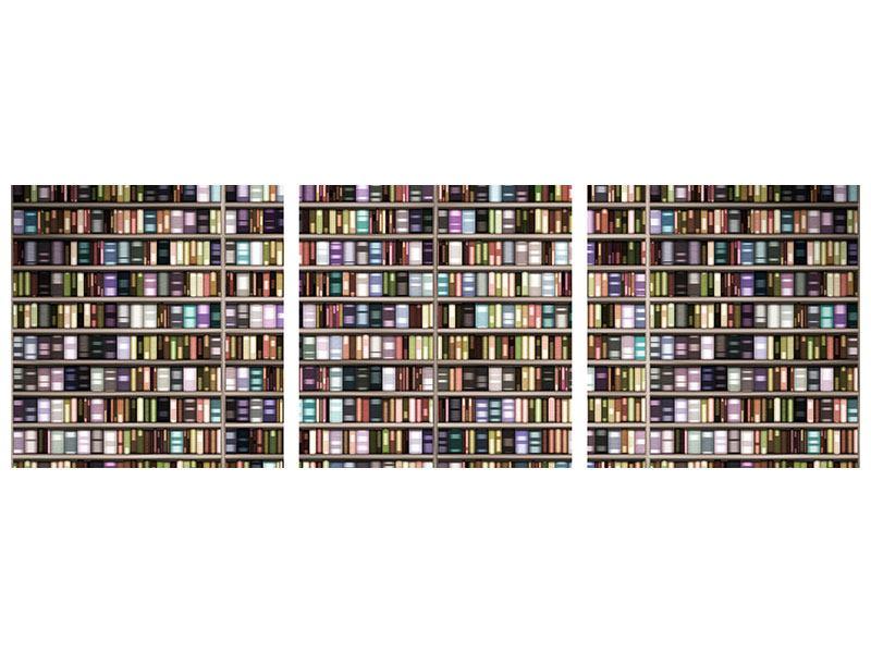 Panorama Aluminiumbild 3-teilig Bücherregal