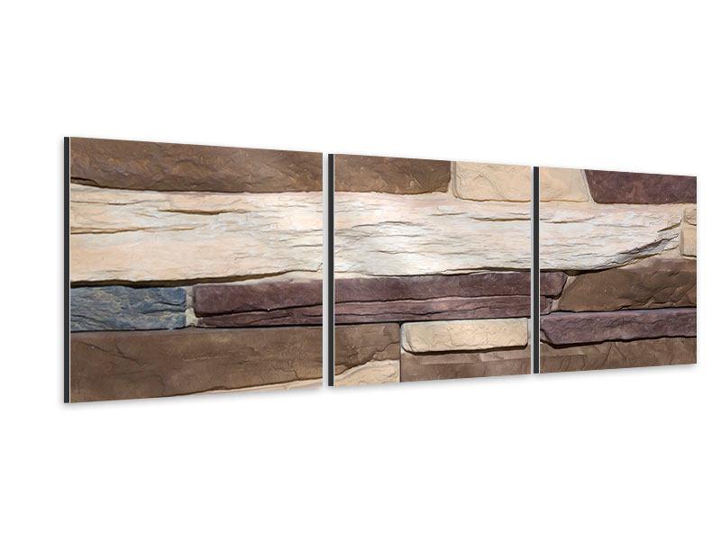 Panorama Aluminiumbild 3-teilig Designer-Mauer