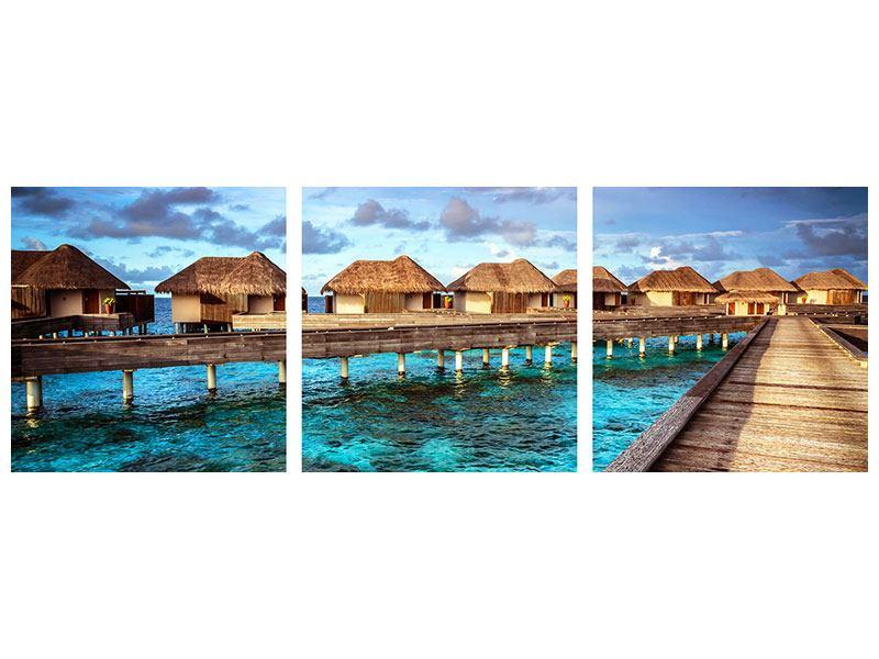 Panorama Aluminiumbild 3-teilig Traumhaus im Wasser