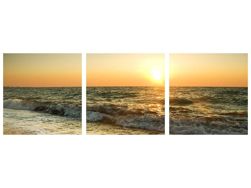 Panorama Aluminiumbild 3-teilig Sonnenuntergang am Meer