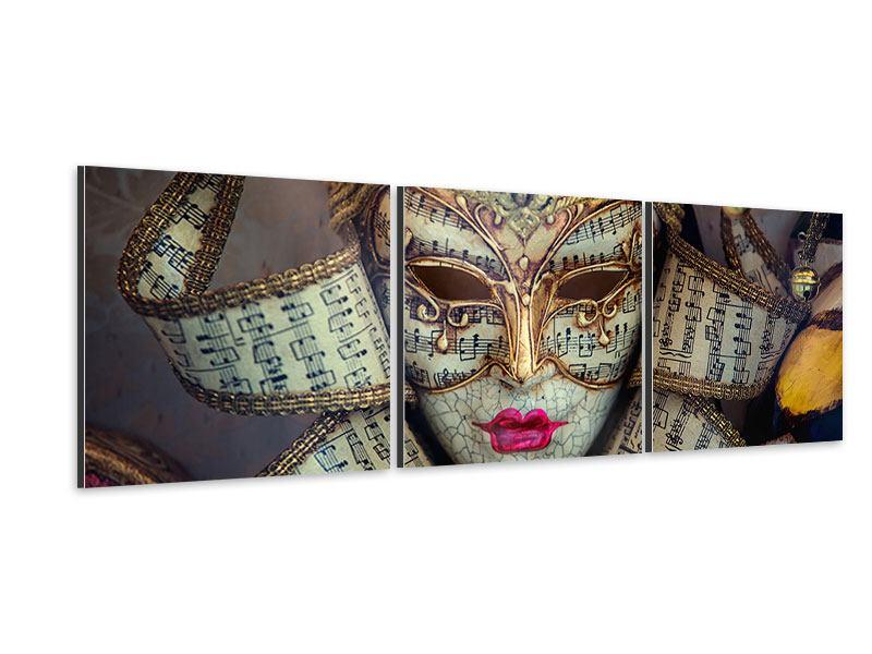 Panorama Aluminiumbild 3-teilig Venezianische Maske
