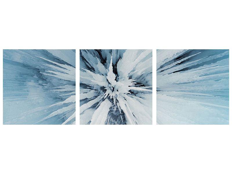 Panorama Aluminiumbild 3-teilig Eiskunst