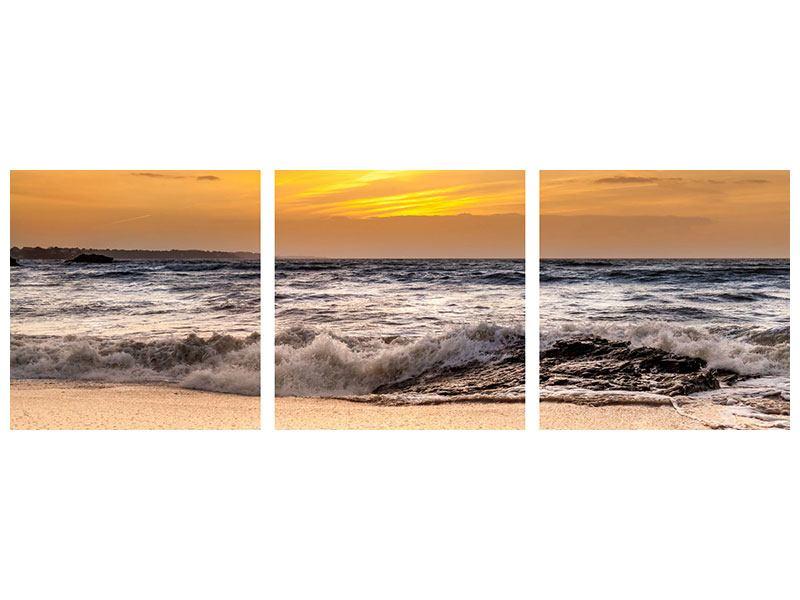 Panorama Aluminiumbild 3-teilig See mit Sonnenuntergang
