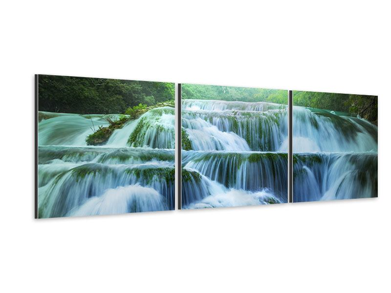Panorama Aluminiumbild 3-teilig Gigantischer Wasserfall