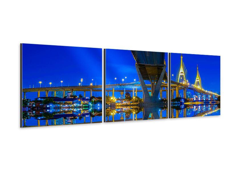 Panorama Aluminiumbild 3-teilig Bhumiboll-Brücke