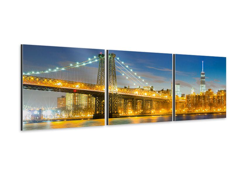 Panorama Aluminiumbild 3-teilig Brooklyn Bridge bei Nacht