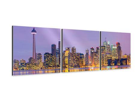 Panorama Aluminiumbild 3-teilig Skyline Toronto bei Nacht