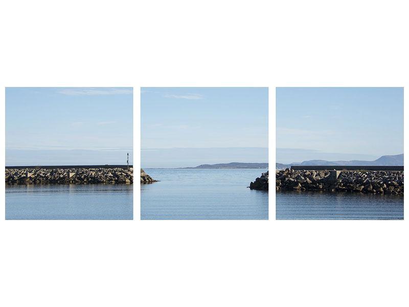 Panorama Aluminiumbild 3-teilig Hafenmauern