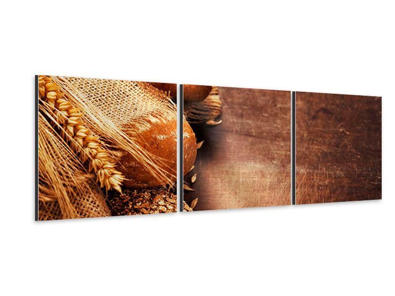 Panorama Aluminiumbild 3-teilig Frische Brote