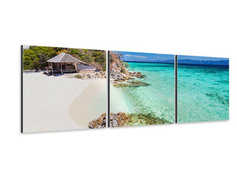 Panorama Aluminiumbild 3-teilig Das Haus am Strand