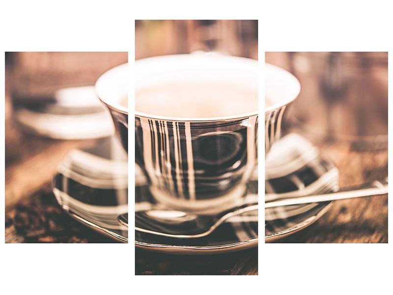 Aluminiumbild 3-teilig modern Der Kaffee ist fertig