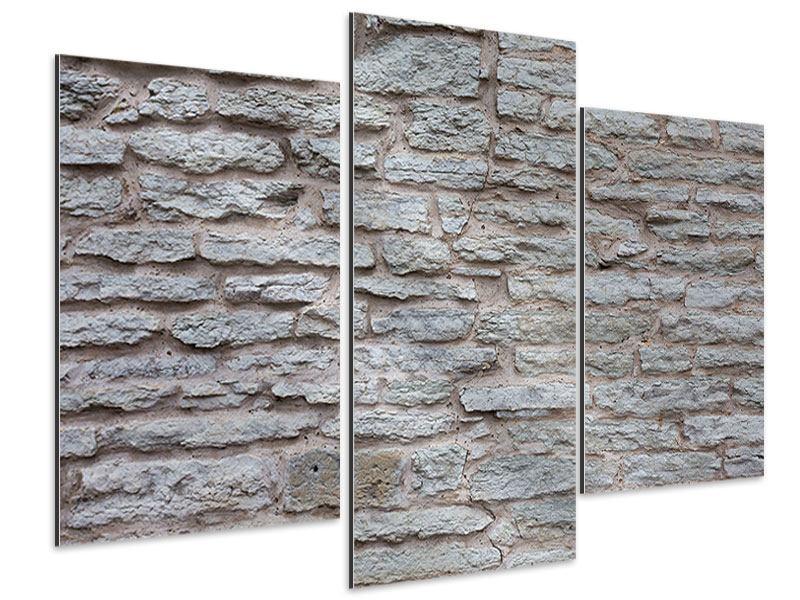 Aluminiumbild 3-teilig modern Steinmauer