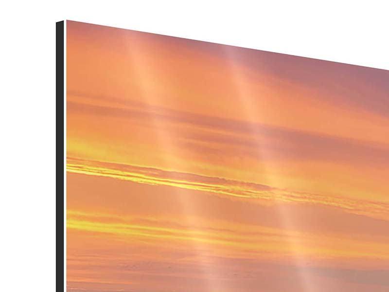 Aluminiumbild 3-teilig modern Skyline Paris bei Sonnenuntergang