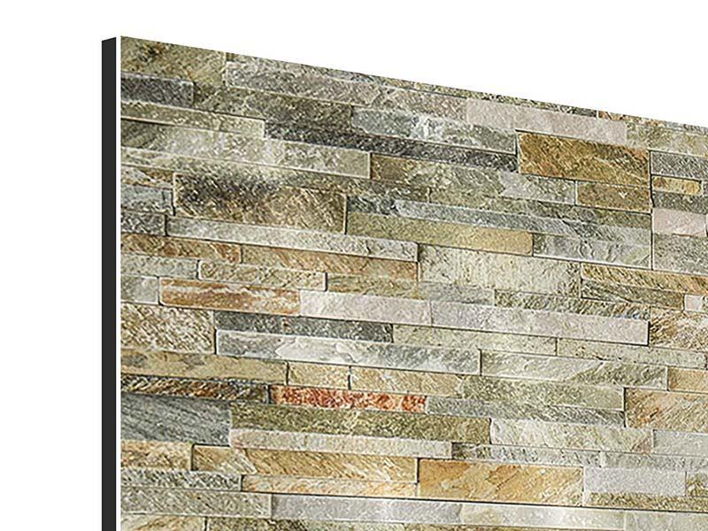 Aluminiumbild 3-teilig modern Edle Steinmauer