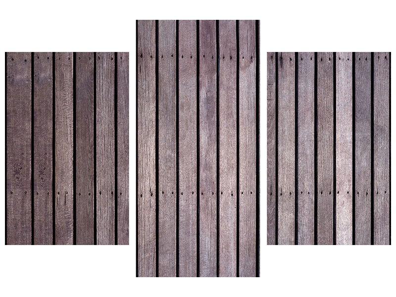 Aluminiumbild 3-teilig modern Holzwand