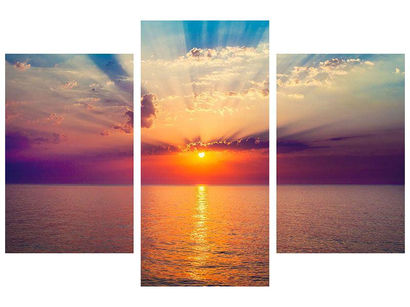 Aluminiumbild 3-teilig modern Mystischer Sonnenaufgang